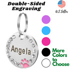Sparkling Cat Dog Tag Key chain ID Name Engrave Personalized