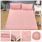 Solid Color Flat Fitted Sheet Elastic Sheets Twin Full Queen King Bedding Set