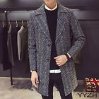 Mens Lapel Wool Blend Cashmere Trench Fashion Long Coat Jackets Overcoat Parka