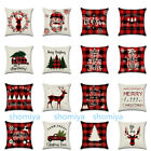 "Us 18"" Tartan Plaid Christmas Xmas Cushion Cover Pillow Case Sofa Home Decor New"