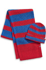 Tommy Hilfiger Men  s 2-Piece Striped Rugby Knit Scarf  Beanie Set, Red/Blue