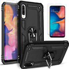 For Samsung Galaxy A50 Case, Ring Kickstand Cover + Tempered Glass Protector