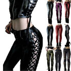 Women Retro PU Pants Leather Punk Lace up Pants Medieval Gothic Casual Trousers
