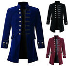Men Retro Jacket Coat Jacquard Steampunk Overcoat Costume Cosplay Gothic Outwear