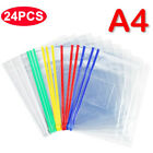24pcs Pvc Zipper Bag Transparent File Bag With Waterproof Stationery A4 Paper