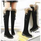 Winter Women's Faux Suede Over Knee High Boots Fur Trim Pull On Snow Warm Shoes