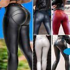 Women Yoga Gym Leggings Skinny Faux Leather Pants Running Exercise Sport Fitness