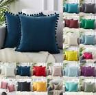 Us Velvet Cushion Cover Pom Poms Home Decorative Sofa Car Throw Pillow Case 18""