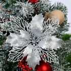 10Pcs Glitter Christmas Poinsettia Hanging Flowers Xmas Party Tree Decoration US