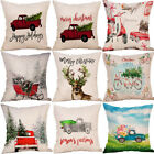 LN_ LT_ AU_ DI- Christmas Car Elk Bike Linen Pillow Case Cushion Cover Sofa Be