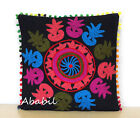 "22"" Square Suzani Cushion Cover 24"" Embroidery Sofa Pillowcase 16"" Pillow Cover"