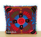 "24"" Square Suzani Cushion Cover 18"" Embroidery Pillowcase 16"" Pillow Cover D5"