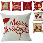 "Us 18""christmas Cushion Cover Pillow Case Cotton Linen Home Sofa Throw Decor"