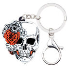Acrylic Halloween Flower Skull KeyChains Ring For Women Wallet Bag Jewelry Gifts