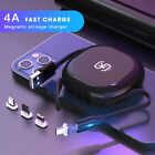 4A Magnetic Retractable Charging USB Cable for iPhone 12/Huawei P30 /Xiaomi 10
