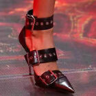 Womens Gothic Buckle Strap Pointed Toe Stilettos High Heels Fashion Prom Shoes