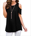 Women's Summer Cold Shoulder Short Sleeve Blouse Tunic Tops Casual T-Shirt 5XL