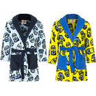 Kids Bathrobe Boys Minions Blue Yellow Cuddly Soft 98 104 116 128 141