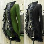 Women Steampunk Lace Cardigan Overcoat Cosplay Open Front Long Sleeve Jacket Top