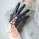 TECH GLOVES Real Leather Black Wrist Short Lace Up Side Tie Bandage Touchscreen