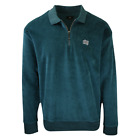 OBEY Men's Evergreen Velour 1/4 Zip Collared Pullover Sweater