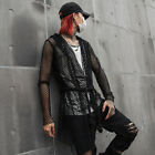 Mens Gothic Fishnet Mesh Hollow Hoodie Cardigan Outwear Casual Coat Tops Jacket