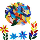 300x Mixed Colors Mosaic Tiles Flower Leaves Hand-Cut Stained Glass for