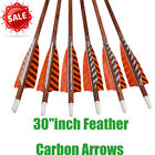 """30""""inch Feather Carbon Arrows Wood Camo Shaft Spine400 Traditional Bow Shooting"""