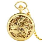 Mens Vintage Mechanical Pocket Watch Golden Two Fish Fishing Antique Fob Chain