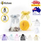 10-100pcs Bow Organza Bag Sheer Bags Jewellery Wedding Candy Packaging Gift
