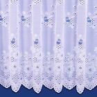 HANNAH FLORAL DESIGN SCALLOPED NET CURTAIN IN WHITE. SOLD BY THE METRE.