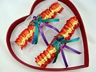 Free Ship New Peace Sign Gay Rainbow Lesbian Bridal Sexy Wedding Garter Prom