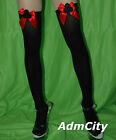 Admcity Opaque thigh high stockings with Glitter Spade Bow Top black/red