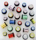 Plugs Single Flare CZ Neon Colors 6g and 8g