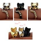 So Cute!Swarovski crystal kitty kitten adjustable ring 3color(silver,black,gold)
