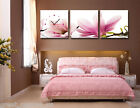 Beautiful Magnolia Flower Quality Canvas Print Set Of 3 With Clock READY TO HANG