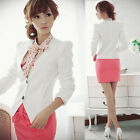 Korea Womens OL Collarless Casual Suits Cardigan Blazer Jackets Outerwear White