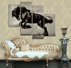 Horse Modern Decor Canvas Prints Set Of 4 With Wall Clock READY TO HANG