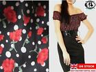 2IN1 VINTAGE BELT DRESS FLOWER OFF SHOULDER BLOUSE TOP PENCIL SKIRT TUNIC SHIFT
