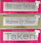 WEDDING WORDS Darice Iron-On JEWELRY 3 D Silver Choice BRIDE TAKEN & more BNIP