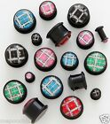 Plaid Single Flare Plugs Pair 2g, 4g or 6g Pick your Pair