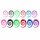 1 x Acrylic Tribal Ear Elongated Spiral Choice of Size & Colour 10G-0G 2.5mm-8mm