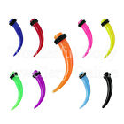 1 x Neon Acrylic Curved Taper Choice of Colour & Size 14G-0G 1.6mm-8mm Stretcher