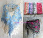 Triangle Floral Lace Mesh Stole Shawl Wedding Wrap Scarf With Fringe