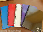 A5 Notebook Book Spiral  80 Sheet Lined Hard Backed Purple Black Blue Silver Red