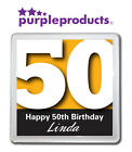 PERSONALISED 50th BIRTHDAY DRINKS COASTER GIFT/PRESENT IN 6 COLOURS