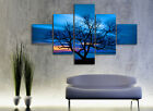 Oil Painting Style Tree In Evening Modern Art On Canvas Print Set Of 5 FRAMED