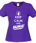 KEEP CALM AND BAZINGA! (THE BIG BANG THEORY) funny slogan skinny fit t-shirts