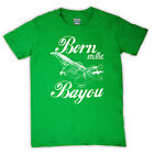 BORN ON THE BAYOU SWAMP AMERICAN ALLIGATOR RETRO T SHIRT ALL COLOURS AND SIZES