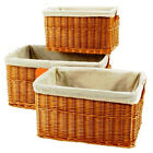 Basket Set 3 Pc. Removable Liners Water Hyacinth Boxes Crafts Server Crate Bins